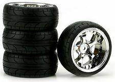 5-Blade Chrome 10mm Offset, ST Radial (4) RC Touring Car Wheels/Tire Set 1/10