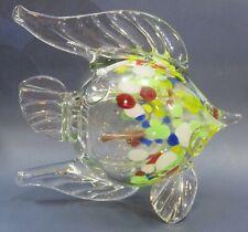 Art Glass Fish Green & Gold Specks Clear Hand Made HQT Home Design