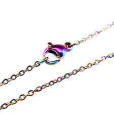 """1PC Rainbow Color Chain Necklace 18"""" Stainless Steel Chain - 1.6mm Width"""