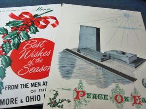 Baltimore and Ohio B & O Railroad Christmas Holiday Train Menus 1950