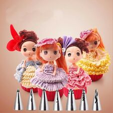 7pcs Fondant Icing Piping Nozzle Cake Pastry Tips Skirt Dress Decorating Tool *K
