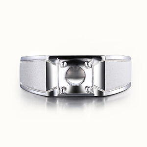 Sterling Silver Prong Setting Round 6.5mm Semi Mount Men's Jewelry Generous Ring