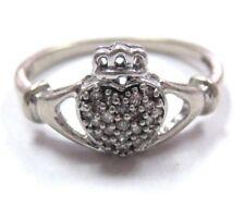 L@@K vntg  Beautiful Solid 10K White Gold Diamond Claddagh Ring sz 5 women girls