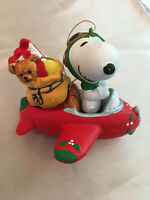 Vintage Snoopy Christmas Ornament Pilot Aviator Red Baron Holiday Flying Ace