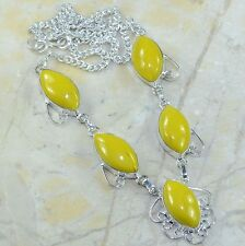 """Yellow Agate Jasper 100% Pure 925 Sterling Silver Necklace 18"""" #C65424"""
