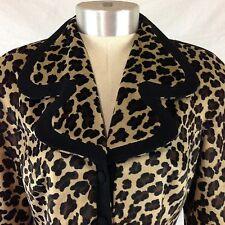 Vintage 80's Rina Rossi Velour Cheetah Print Blazer Jacket Size 2