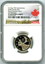 2020 CANADA 25 CENT V-E-DAY VE-DAY NAVY PROOF NGC PF69 QUARTER FIRST RELEASES