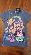 Disney Women's retro style Minnie Mouse grey Tee sz8 BNWT free post E17,E45