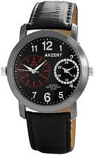 Dual Timer Men's Watch Black Titanium LOOK Analogue Leather G-60412119202795
