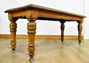 Antique Victorian long side console table / hall table - library table