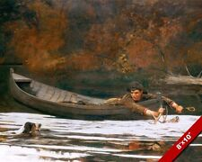 HOUND & HUNTER YOUNG BOY HUNTING DEER IN A BOAT PAINTING ART REAL CANVAS PRINT