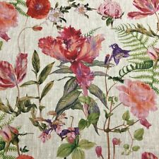 Fuschia & Bluebell French 100% Linen Pink Floral Fabric   Curtains Upholstery