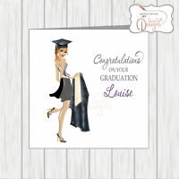 Personalised Congratulations Card Graduate Graduation Girl Mortar Gown Female