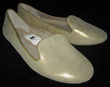 Gap NWT Womens Gold Metallic Leather Loafers Ballet Style Shoes 6-1/2 6.5 $50