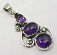 .925 Solid Silver Authentic PURPLE AMETHYST 3 STONE LARGE Pendant 1 5/8 inches