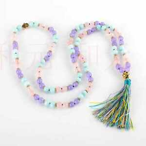 8mm 108 knot Pink crystal Aquamarine purple jade  necklace gift Colorful
