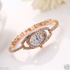 New Women Rhinestone Crystal Stainless Steel Analog Quartz Bracelet Wrist Watch