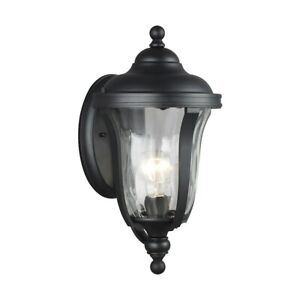 Sea Gull Lighting Perrywood Small 1 Light Outdoor Wall, Black/Water - 8514201-12