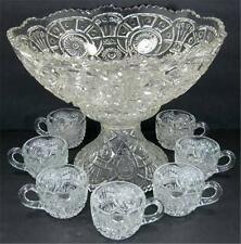 EAPG 1914 Imperial Glass Broken Arches Punch Bowl Set Stand 7 Cups