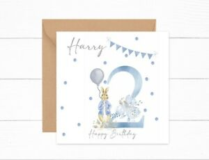 Personalised Boys Birthday Card 2nd Birthday Peter Rabbit Two Today Son Brother