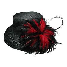 Nera Da Donna Cappello Con/Rosso E Nero Fiore Hat venditore UK 39004-3