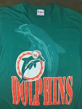 Vintage Mens XL 90s Miami Dolphins Team NFL Football Logo Graphic Green T-Shirt