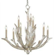 CURREY & CO COMPANY Haywood 9 Light Chandelier, 9410, Faux Antler, Silver Leaf