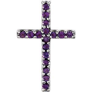 Genuine Amethyst Petite Cross Pendant In Platinum