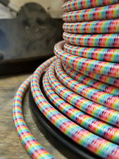 Rainbow Cloth Covered 3-Wire Round Cord, Fabric Color Electrical Power Cable