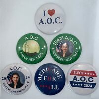 Alexandria Ocasio-Cortez (AOC) Buttons - Set of 6 pins - 2.25 inches