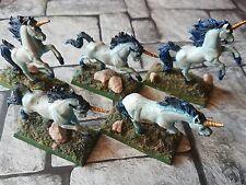 Einhorn Regiment 5 Figuren z.B. Für Warhammer/DSA oder D&D - Metall - BEMALT!