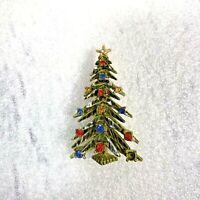 Vintage Signed ART Christmas Tree Brooch Pin Enamel Rhinestones / Estate Jewelry