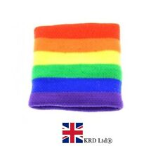 Unisex Gay Pride RAINBOW STRIPE SWEATBAND Wristband Adult Fancy Dress NEW UK
