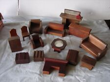 VINTAGE LOT DOLL DOLLHOUSE FURNITURE BATHROOM LIVING ROOM  WOOD FIREPLACE CHAIR