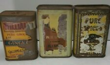 Lot Of 3 Vintages 50's Pure Spices Tins Size 3.5'' X 2.25'' X 1.25''
