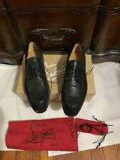 New Christian Louboutin Textured Leather Lace Up Shoes, Black, 42/9