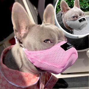 Soft Breathable Mesh Dog Muzzle Pet Mouth Muzzles Anti Bark No Bite Gray Pink