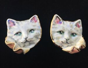 Charming Opalescent White Porcelain Cat Earrings Unsigned