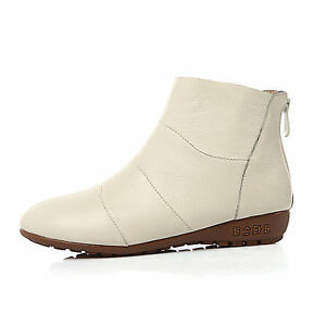 Womens Casual Flats Shoes Genuine Leather Low Heels Zip Ankle Boots US Size b321