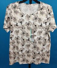 White Stag Women's Top  Size XXL (size 20) T shirt  100% cotton  NWT Gray floral