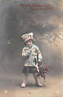 BG8777 girl mistletoe child  neujahr new year greetings germany