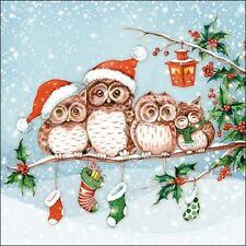 Ambiente Luxury Paper Napkins Pack of 20 Christmas  Owls Design Serviette.