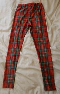 Ladies Red Tartan Leggings - Size 10-12