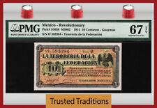 TT PK S1058 1914 10 CENTAVOS GUAYMAS MEXICO REVOLUTIONARY PMG 67 EPQ SUPERB GEM