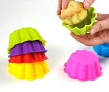 Set 6 Stampi Formine Silicone Pirottini CupCakes Dolci Muffin Forma Ondulet dfh