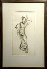 """""""Filipino Dancer"""" by Max Pollak, Colored Etching, 24"""" x 16"""""""
