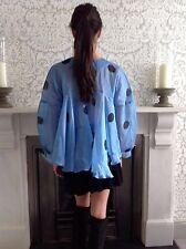 Natasha Zinko Silk Twill Polka Dot Caftan Top In Pale Blue Sz 34 UK 6 XS