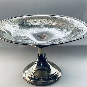 Wilcox Paisley Silver Plate Large Footed Compote Centerpiece Bowl Pedestal Dish