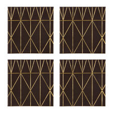 Geome Prism Coasters Black & Gold Set of 4 Drink Table Mat Placements