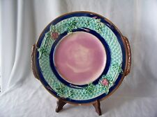 Old Majolica Pottery Large Round Platter w Rose Motif